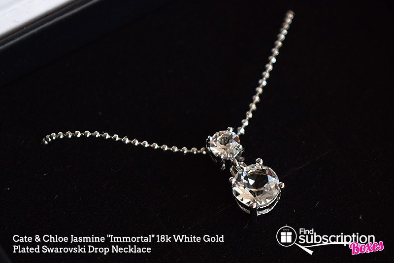 "September 2017 Cate & Chloe VIP Box Review – Shades of Gray - Jasmine ""Immortal"" 18k White Gold Plated Swarovski Drop Necklace"