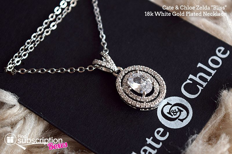 "September 2017 Cate & Chloe VIP Box Review – Shades of Gray - Zelda ""Bliss"" 18k White Gold Plated Necklace"