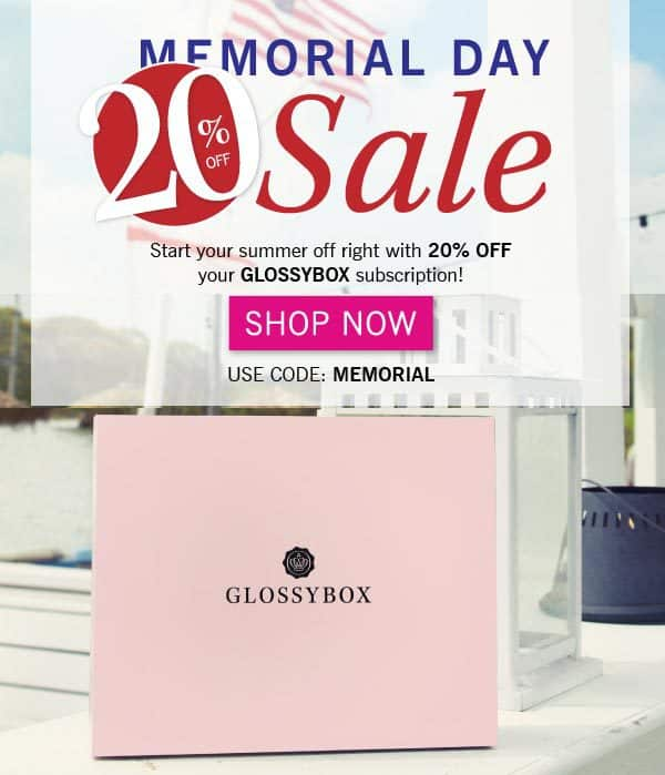 GLOSSYBOX 20% Off Memorial Day