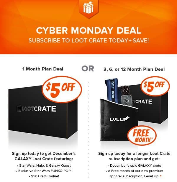 Loot Crate Cyber Monday Coupon - $5 off Loot Crate